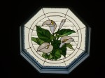 The Lilies installed in a hexagon window.  It adds privacy and elegance to the landing.  Private residence in Waterloo.