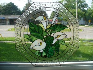 Hexagon panel of Calla Lillies - made with Bullseye and Uroborous Art Glasses