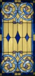 "Opalescent Blues & white stained glass panel 48"" x 24"""