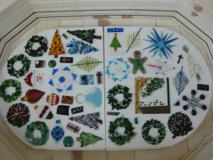 Fused Stained Glass Ornaments ready to be fired in the kiln